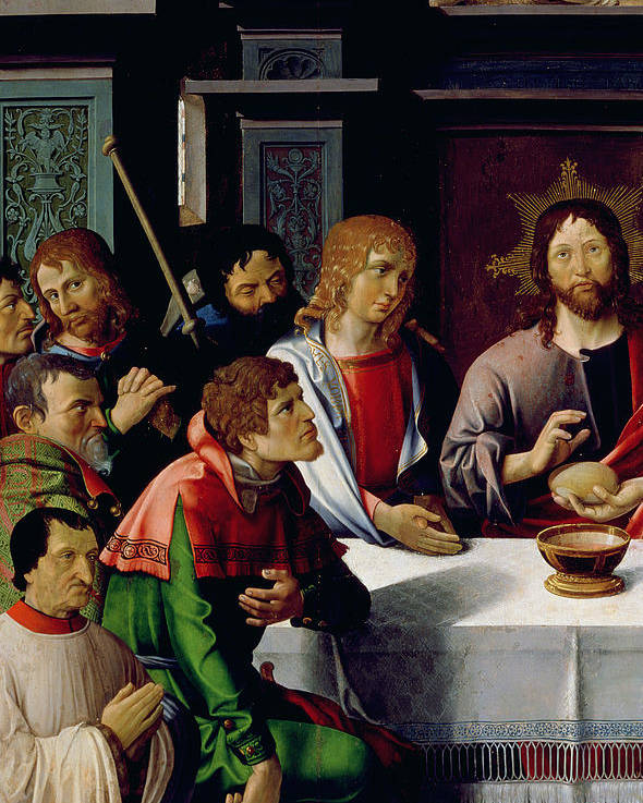 The Last Supper Poster featuring the painting The Last Supper by French School