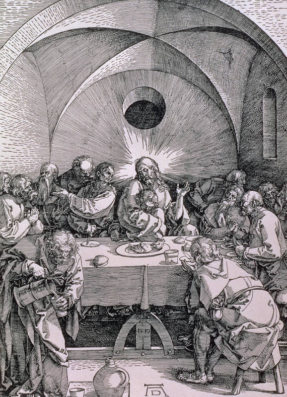 Print Poster featuring the painting The Last Supper From The 'great Passion' Series by Albrecht Duerer