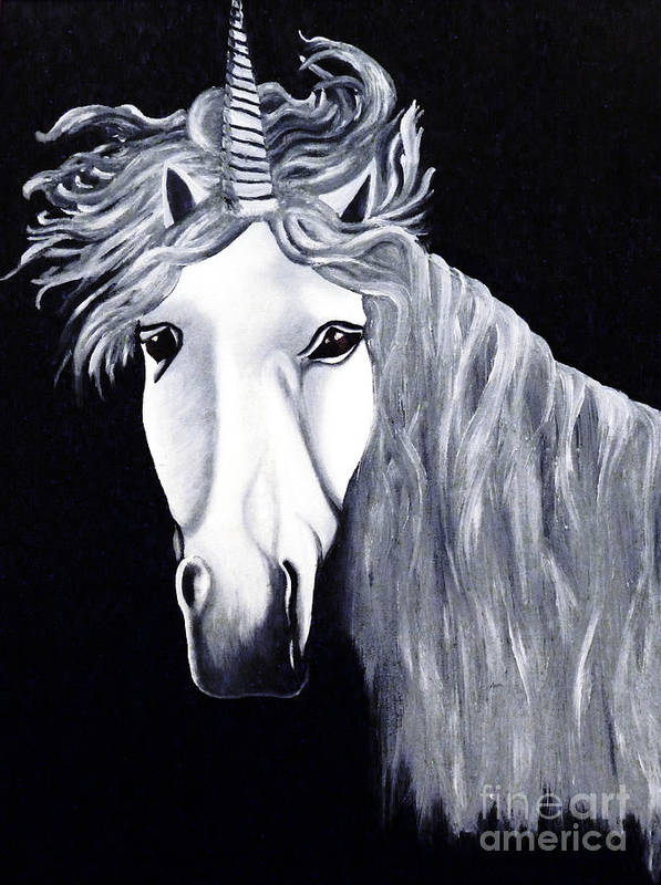 Unicorn Poster featuring the painting The Last Unicorn by Alys Caviness-Gober