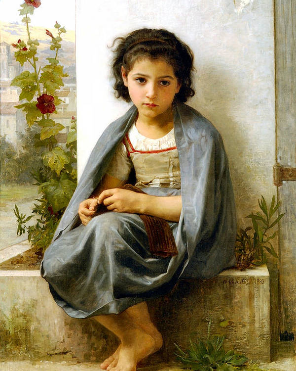 The Spinner Poster featuring the digital art The Little Knitter by William Bouguereau