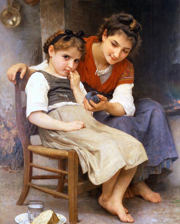 The Little Sulk Poster featuring the digital art The Little Sulk by William Bouguereau