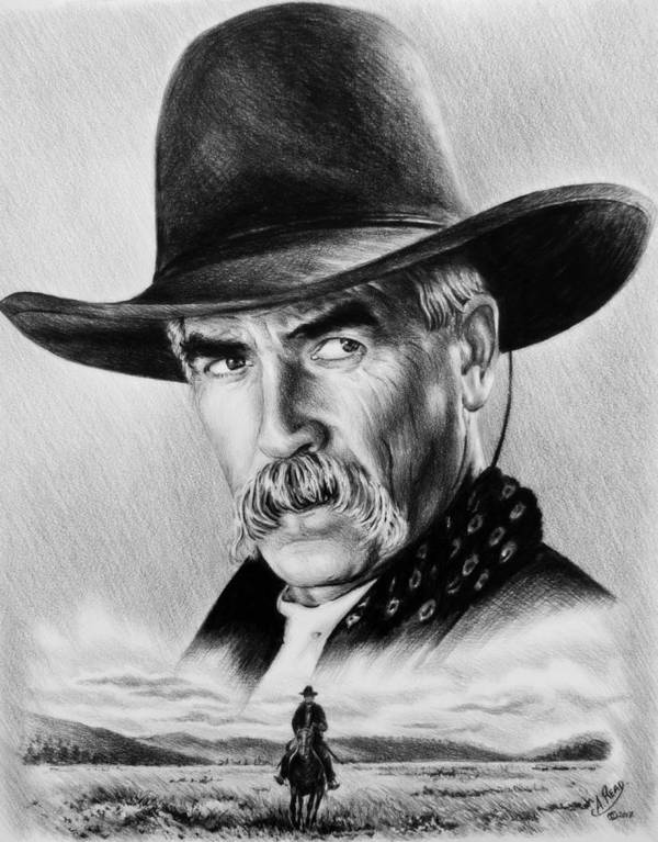 Sam Elliot Poster featuring the drawing The Lone Rider Wash Effect by Andrew Read