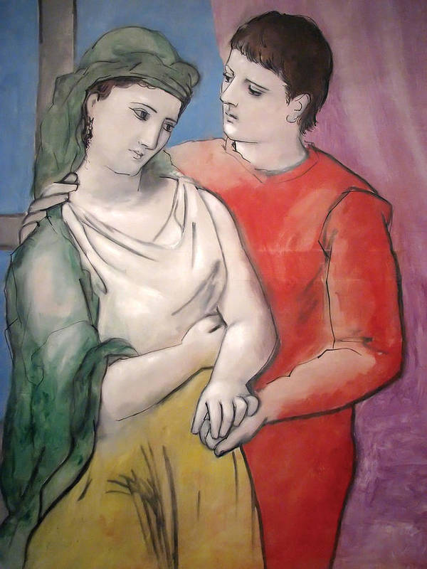 Pablo Picasso Poster featuring the painting The Lovers by Pablo Picasso