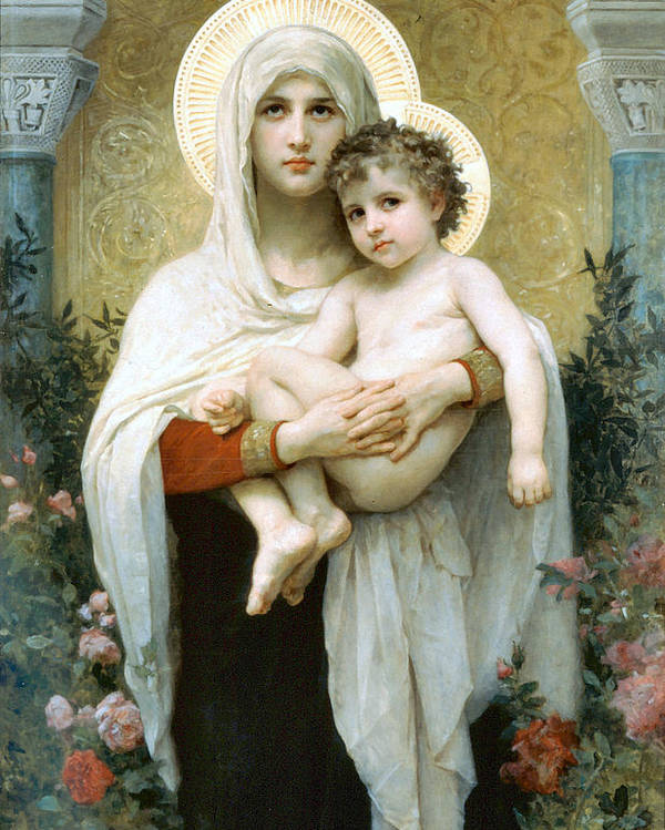 The Madonna Of The Roses Poster featuring the digital art The Madonna Of The Roses by William Bouguereau