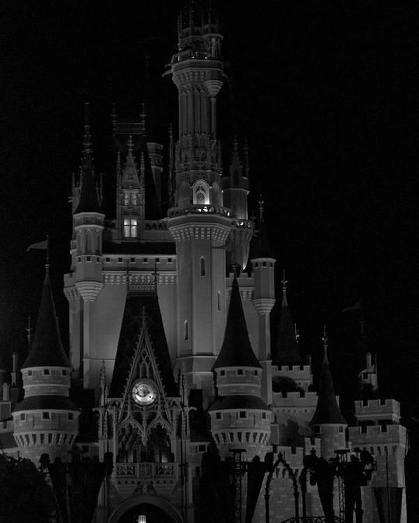 The Magic Kingdom Castle In Black And White Walt Disney