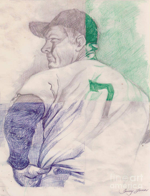Baseball Poster featuring the drawing The Mantle by Donald Jones