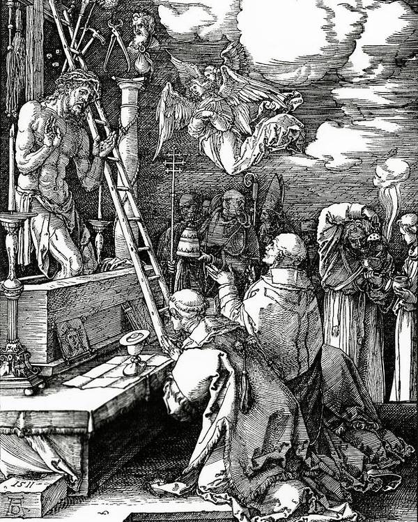 Kneeling Poster featuring the painting The Mass Of St. Gregory by Albrecht Duerer
