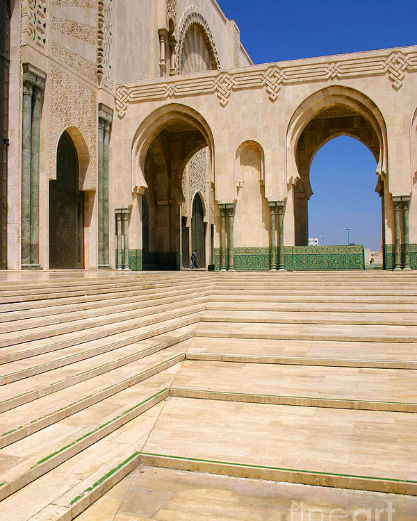 Colonnades Leading To Mosque Poster featuring the photograph The Massive Colonnades leading to the Hassan II Mosque Sour Jdid Casablanca Morocco by PIXELS XPOSED Ralph A Ledergerber Photography