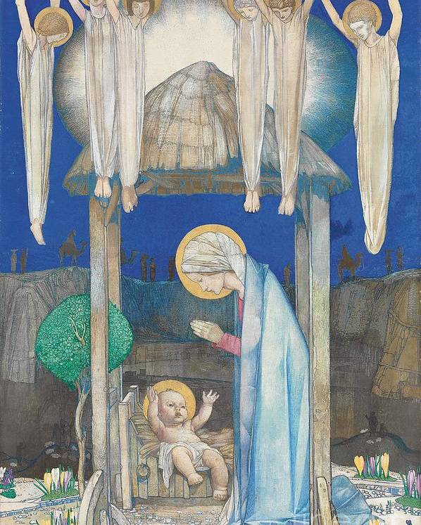 Nativity Poster featuring the painting The Nativity by Edward Reginald Frampton