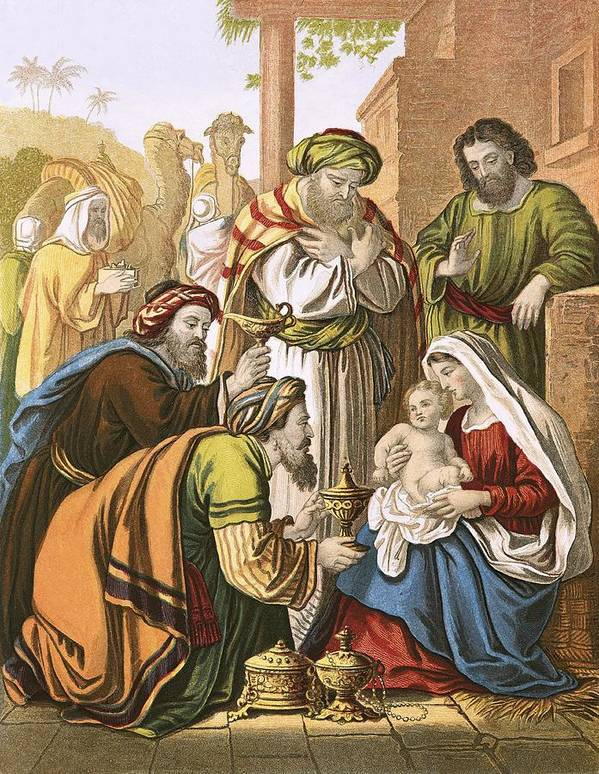 Bible; Christ; Jesus; Nativity; Three Wise Men; Three Kings; Birth; Bethlehem Poster featuring the painting The Nativity by English School