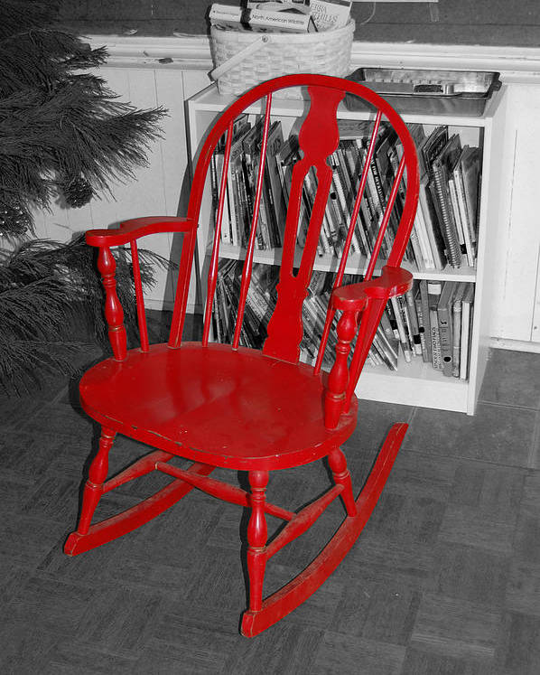 Red Poster featuring the photograph The Old Red Rocking Chair by Pat Follett