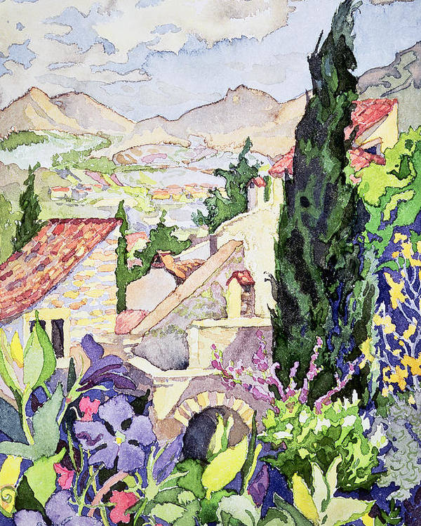Cottages & Cottage Gardens Poster featuring the painting The Old Town Vaison by Julia Gibson