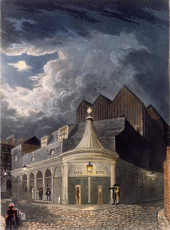 Olympic Theatre Poster featuring the drawing The Olympic Theatre, 1826 by Daniel Havell