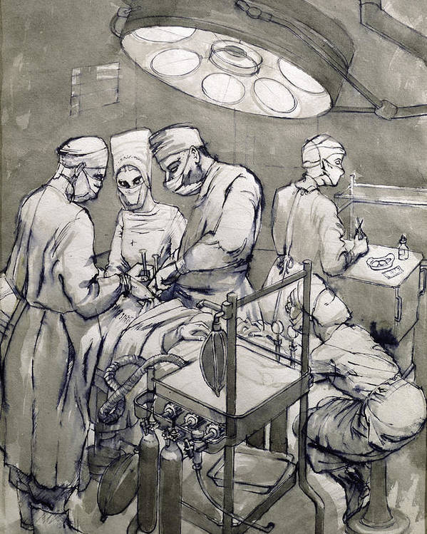 Surgeon Poster featuring the drawing The Operation Theatre, 1966 by Osmund Caine