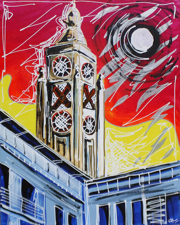 The Oxo Tower Poster featuring the painting The Oxo Tower by Laura Hol Art