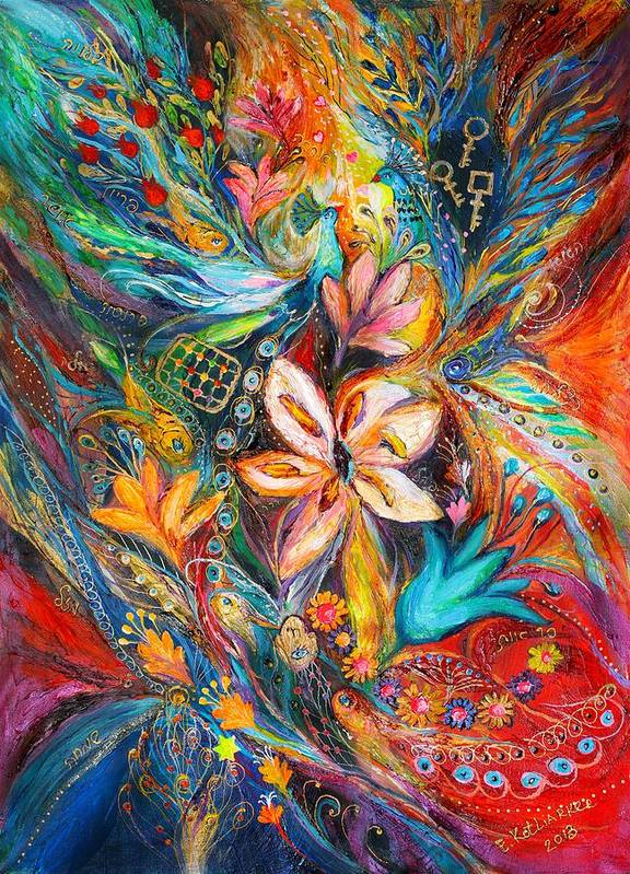 Original Poster featuring the painting The Passion Of Flowering by Elena Kotliarker