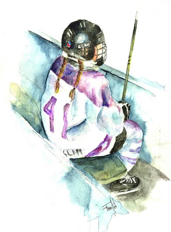 Ringette Poster featuring the painting The Penalty Box by Leslie Franklin