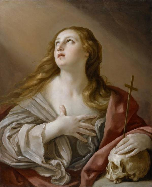 The Penitent Magdalene Poster featuring the digital art The Penitent Magdalene by Guido Reni