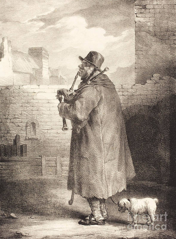 Ancient Poster featuring the drawing The Piper by Indian Summer