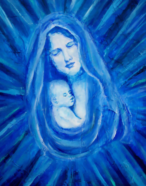 Mother And Child Poster featuring the painting The Protecting Love Of A Mother And Her Child by The Art With A Heart By Charlotte Phillips