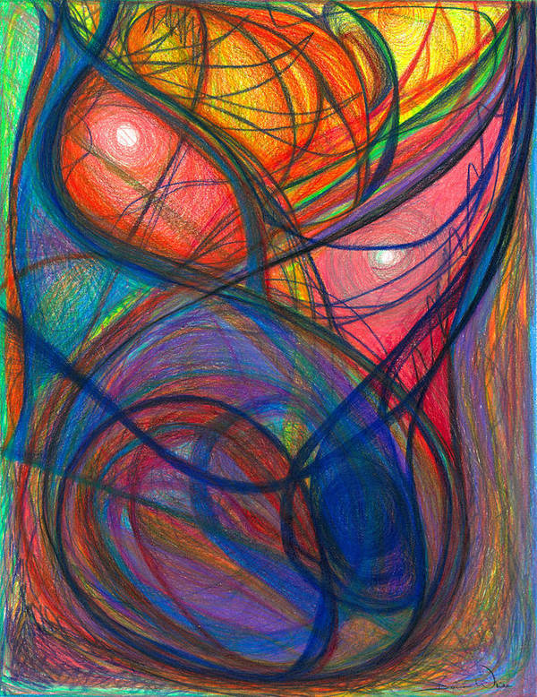 Abstract Poster featuring the drawing The Pulse Of The Heart Lies Strong by Daina White