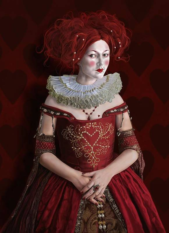 Queen Poster featuring the digital art The Queen Of Hearts by Mark Satchwill