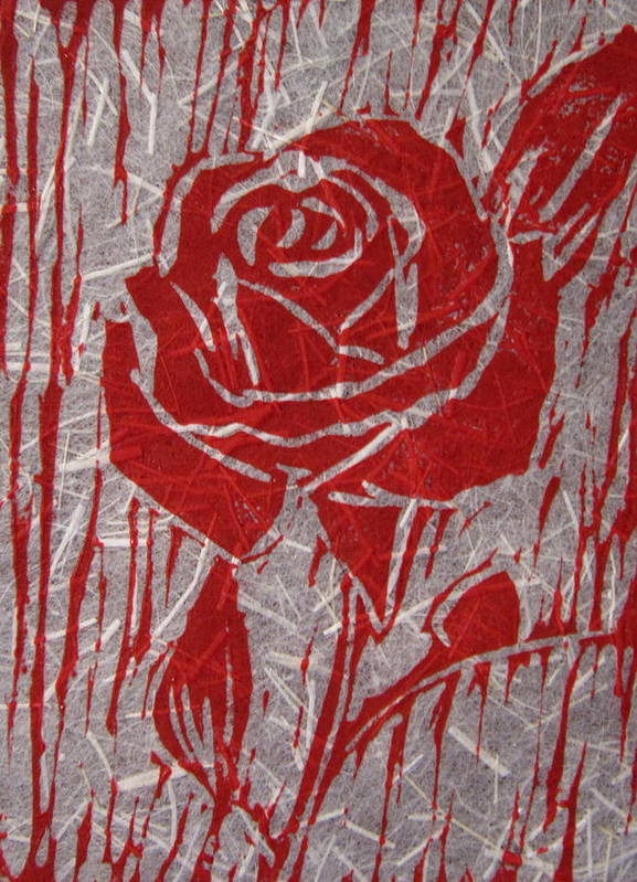 Red Rose Poster featuring the relief The Red Rose by Marita McVeigh