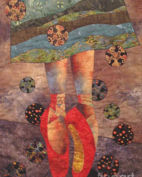 Art Quilt Tapestries Textiles Poster featuring the tapestry - textile The Red Shoes by Lynda K Boardman