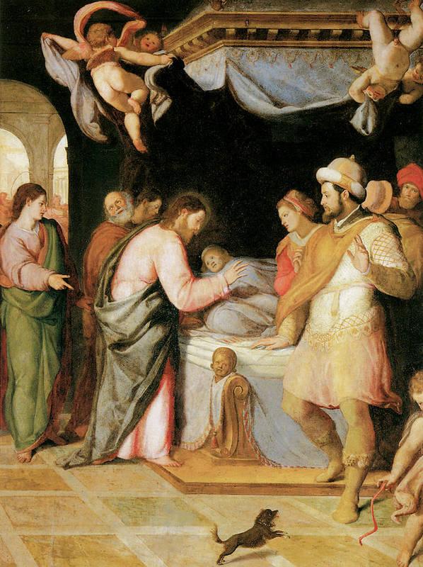 Santi Di Tito Poster featuring the painting The Resurrection Of Jairus's Daughter by Santi Di tito