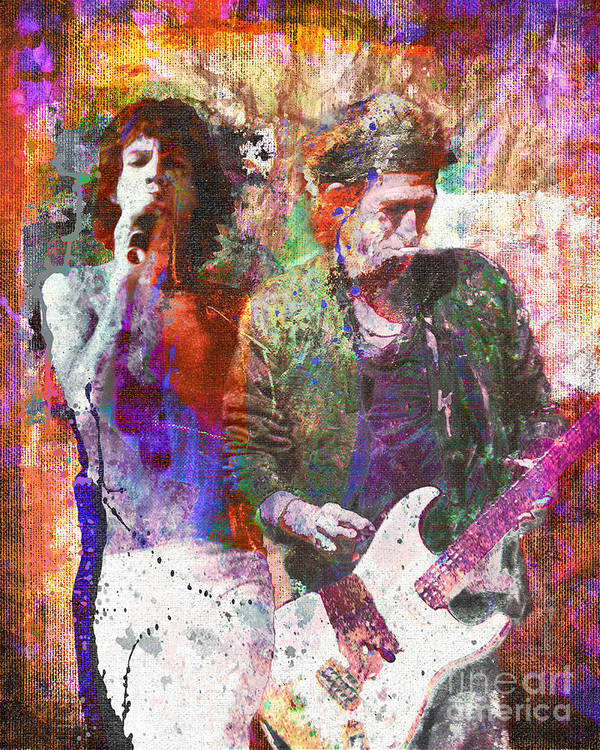 Rock Poster featuring the painting The Rolling Stones Original Painting Print by Ryan Rock Artist