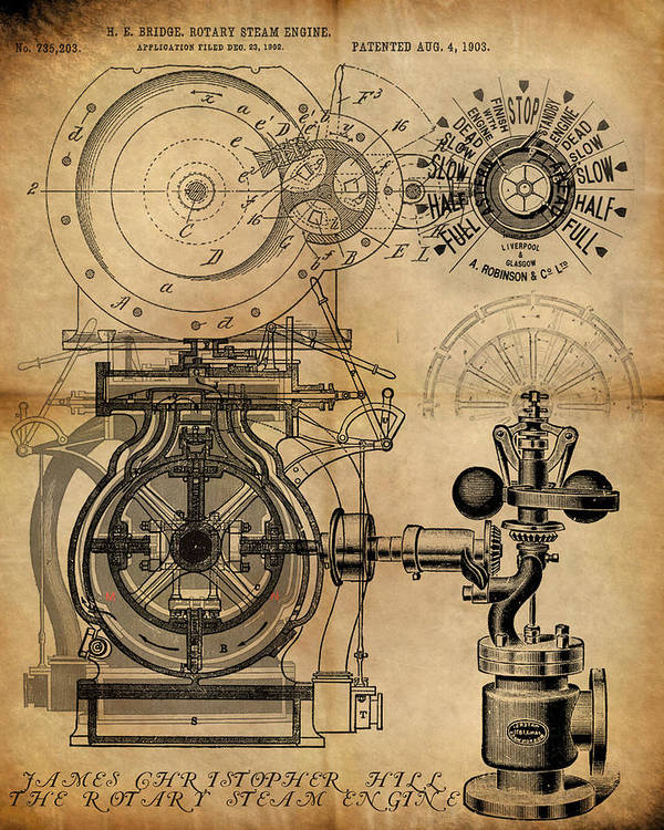 Steampunk Poster featuring the painting The Rotary Engine by James Christopher Hill