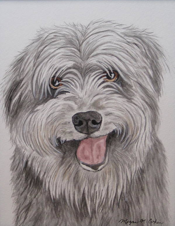 Dog Poster featuring the painting The Sheepdog by Megan Cohen
