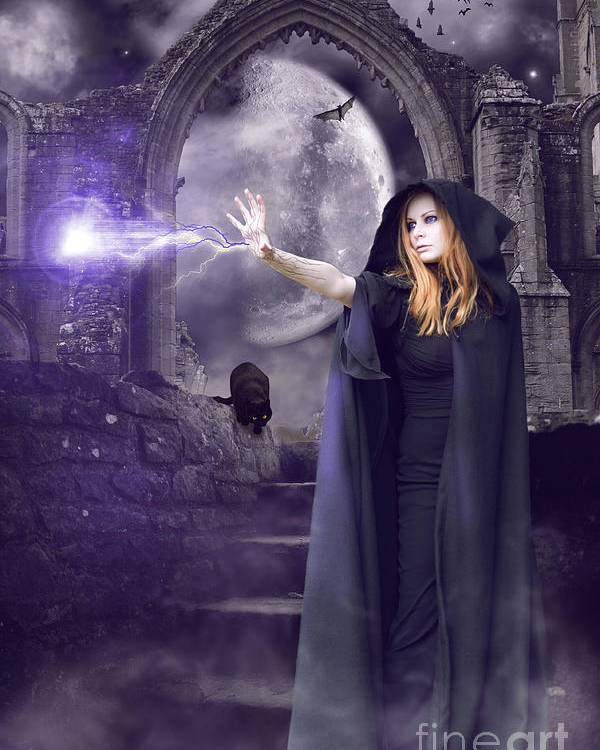 Halloween Poster featuring the digital art The Spell Is Cast by Linda Lees