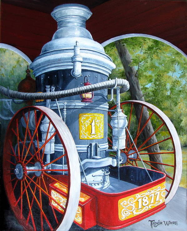 Steam Engine Poster featuring the painting The Steamer by Tanja Ware