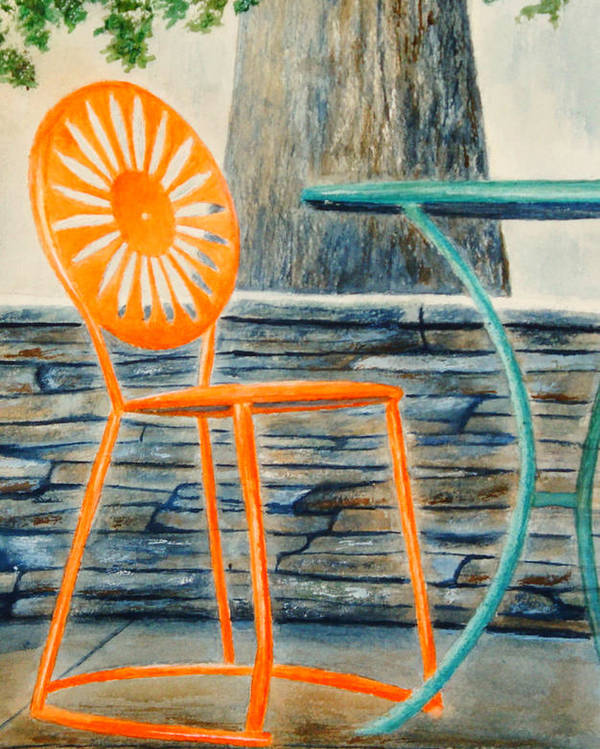 University Of Wisconsin Poster featuring the painting The Terrace Chair by Thomas Kuchenbecker