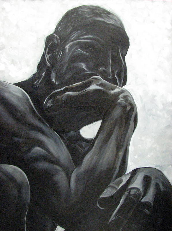 Black And White Paintings Poster featuring the painting The Thinker by Aimee Vance