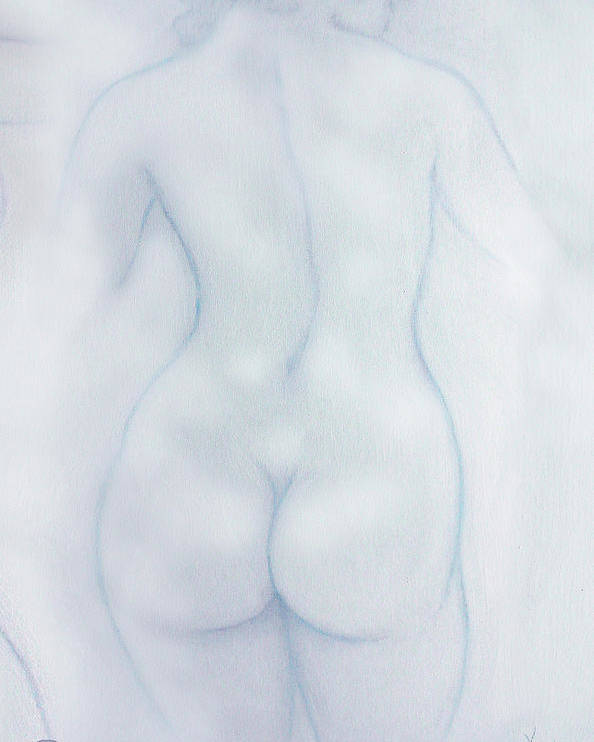 Three Graces Poster featuring the painting The Three Graces Euphrosyne Mirth Blue by Jerry Kool