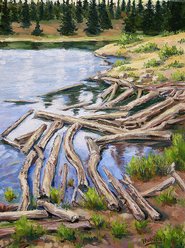 Art Poster featuring the painting The Trail Series - Beaver Pond by Frederick Hubicki