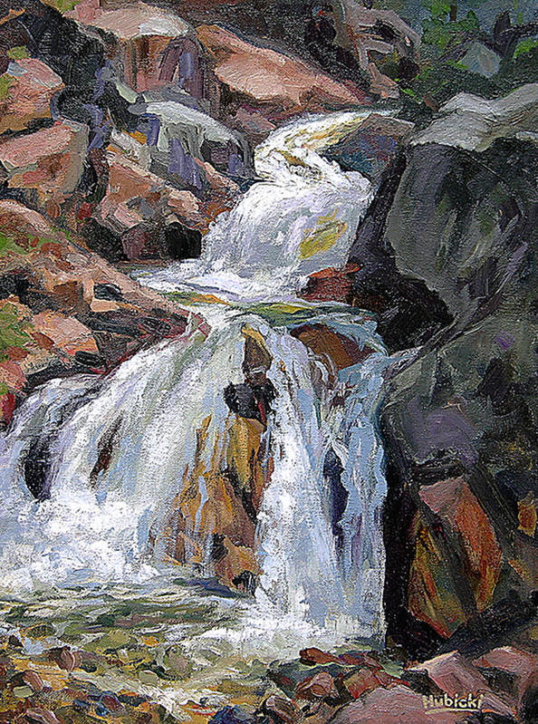 Art Poster featuring the painting The Trail Series - Waterfalls by Frederick Hubicki