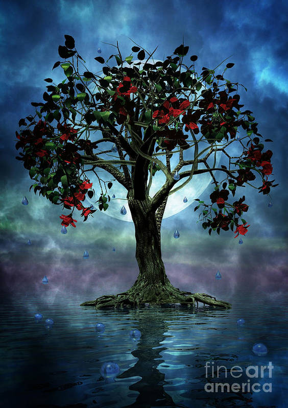 Fantasy Tree Poster featuring the painting The Tree That Wept A Lake Of Tears by John Edwards