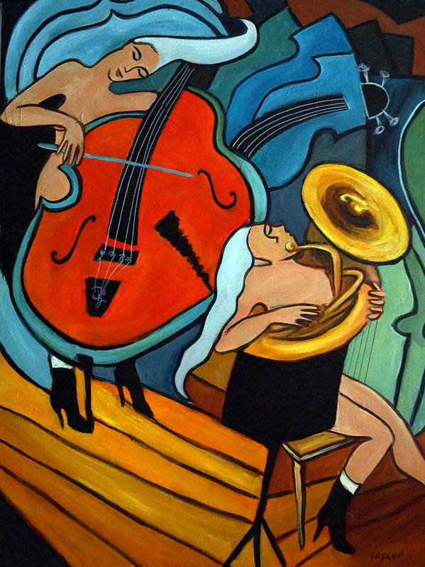 Musician Abstract Poster featuring the painting The Tuba Player by Valerie Vescovi