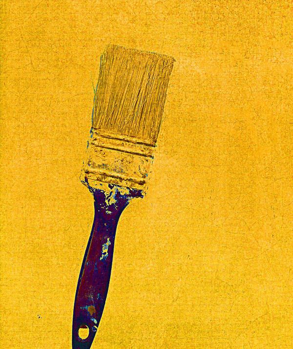Still Life Poster featuring the mixed media The Used Paintbrush by Bob RL Evans