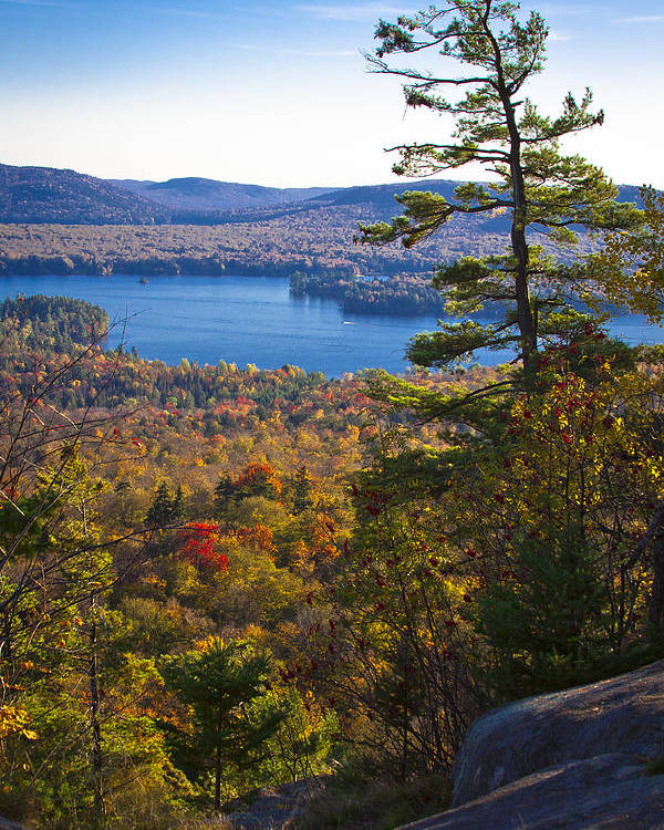 Adirondack's Poster featuring the photograph The View From Bald Mountain - Old Forge New York by David Patterson
