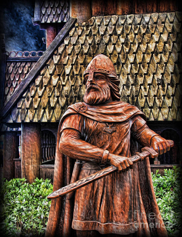 Leif Eriksson Poster featuring the photograph The Viking Warrior Statue by Lee Dos Santos