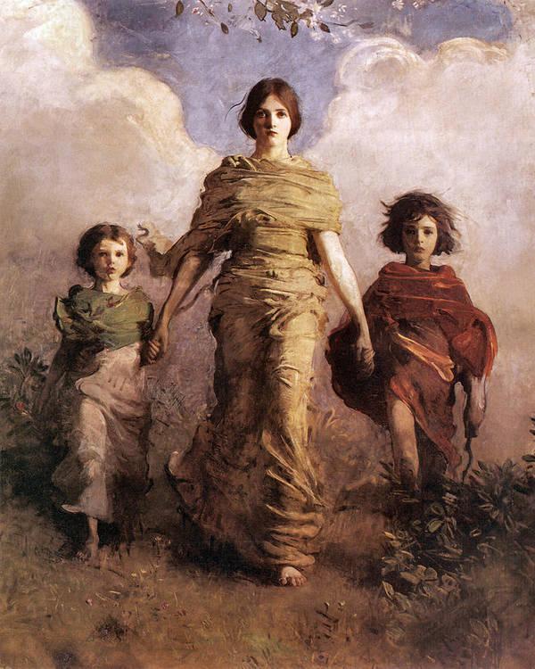 Abbott Handerson Thayer Poster featuring the digital art The Virgin by Abbott Handerson Thayer