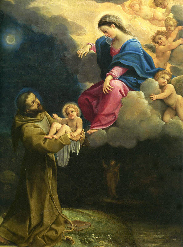 Carracci Ludovico Poster featuring the digital art The Vision Of Saint Francis by Carracci Ludovico