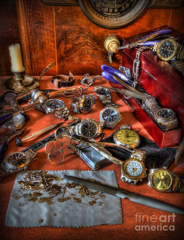 Submariner Poster featuring the photograph The Watchmaker's Desk by Lee Dos Santos