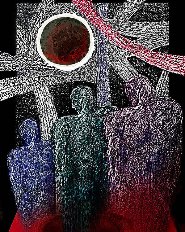 Despair Poster featuring the mixed media The Well Of Despair by Hartmut Jager