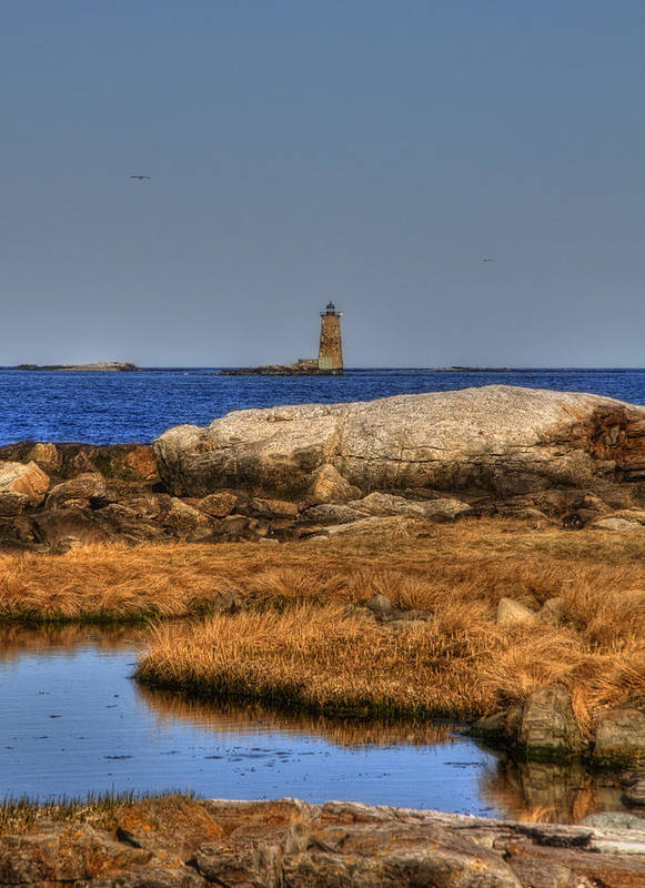 New England Poster featuring the photograph The Whaleback Lighthouse by Joann Vitali