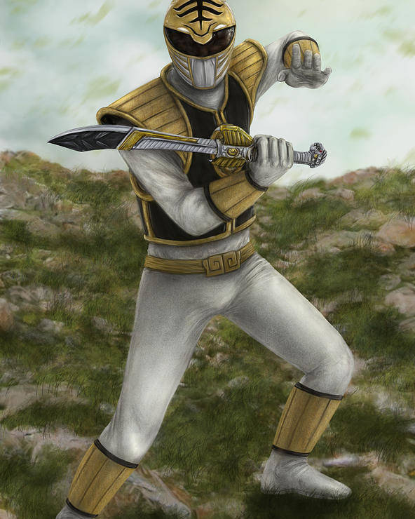 Power Rangers Poster featuring the digital art The White Ranger by Michael Tiscareno